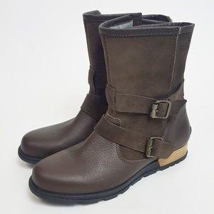 Sorel Major Moto Boots Biker Leather 8.5 Brown